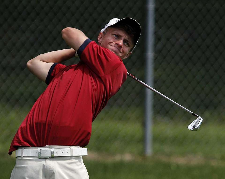 Smithtown East's Jesse Kovacs tees off on the