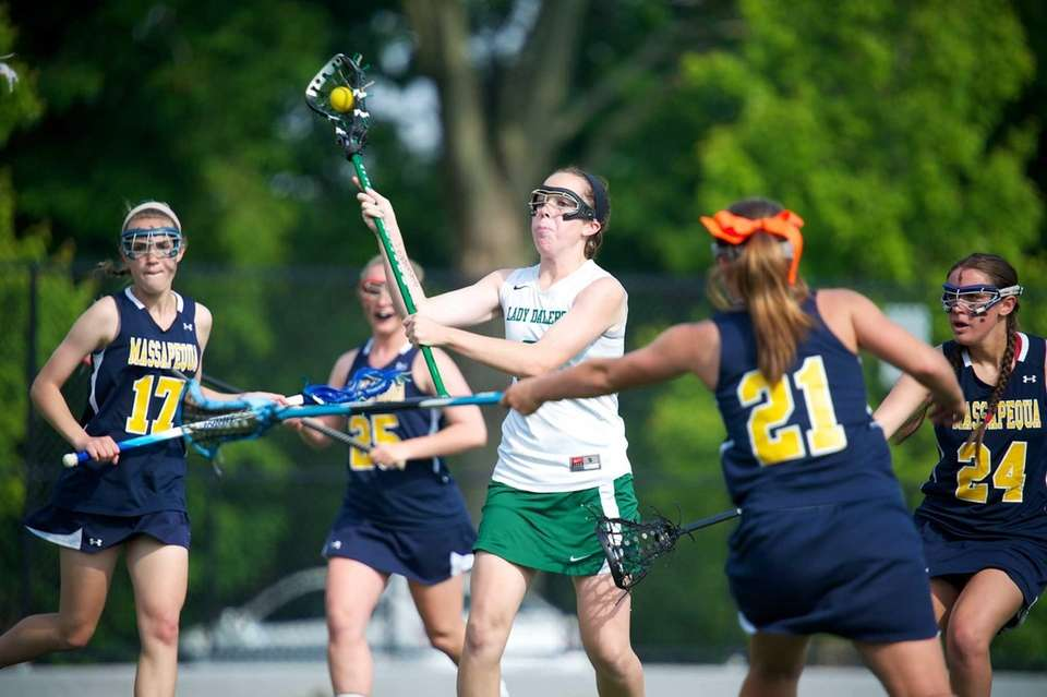 Farmingdale attacker Tara Wahl scores a goal for