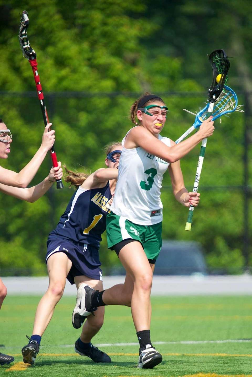 Farmingdale mid-fielder Emily Marlow handles the ball behind