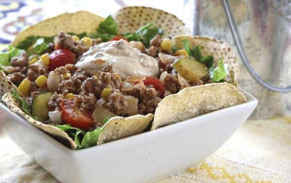A taco salad gets a bit lighter with