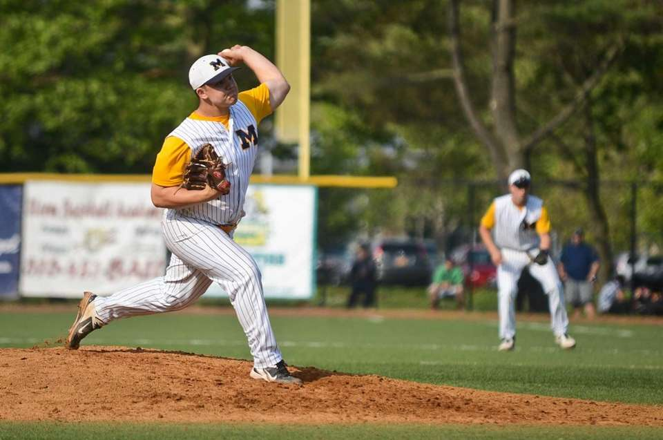 Massapequa senior Robert Fitzpatrick pitches the ball during