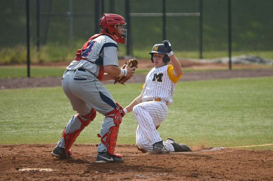 Massapequa junior Bobby Honeyman lands on home base
