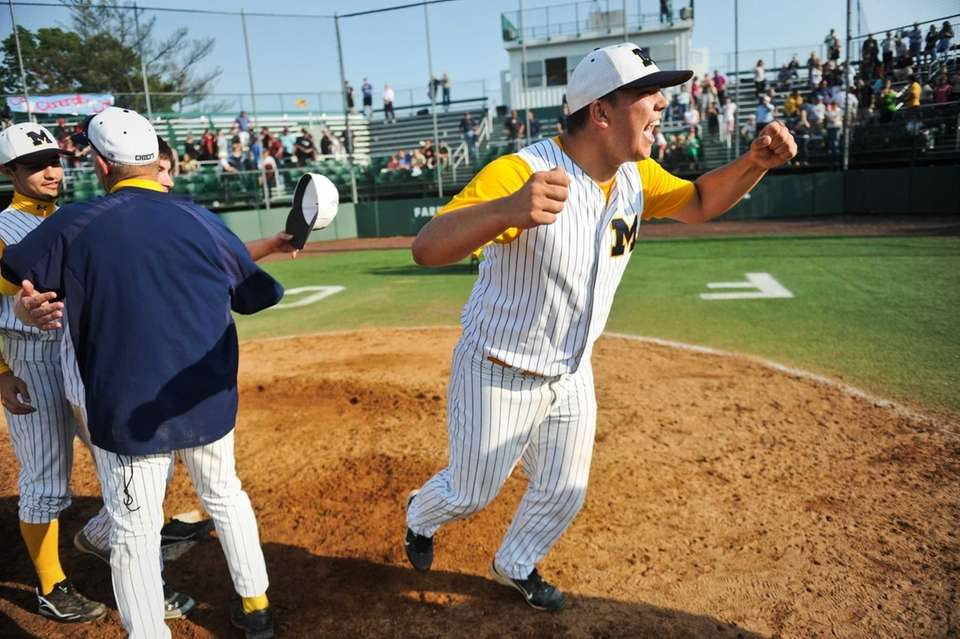 Massapequa senior Robert Fitzpatrick celebrates at the end