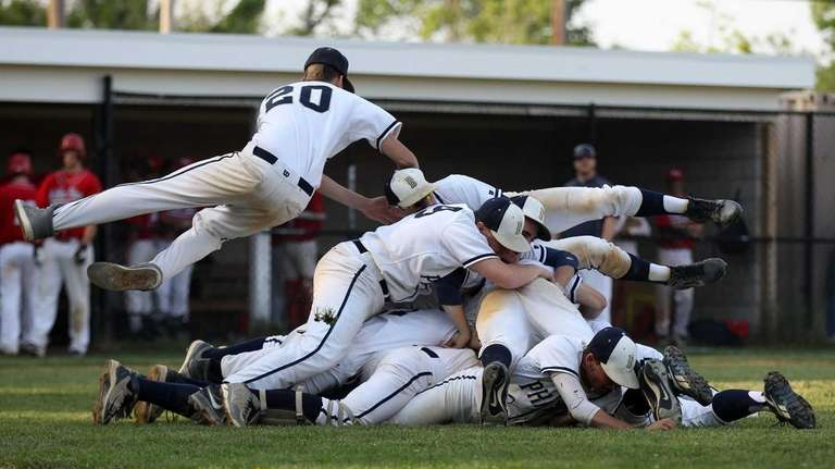 Bayport-Blue Point Phantoms celebrate after defeating Miller Place.