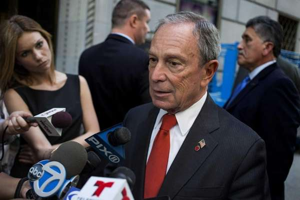 Mayor Michael Bloomberg arrives at a public appearance
