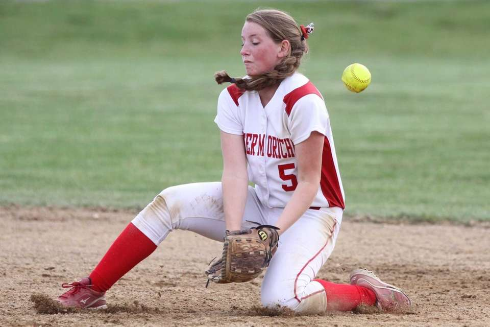 A hard-hit ball gets past Center Moriches' Cheyenne