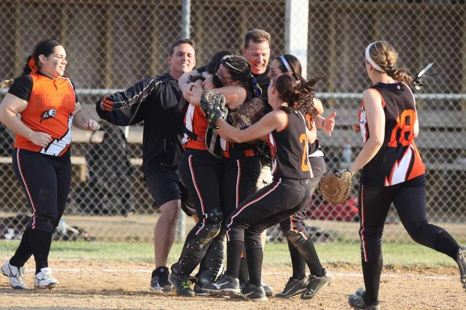 Babylon celebrates their victory over Center Moriches during