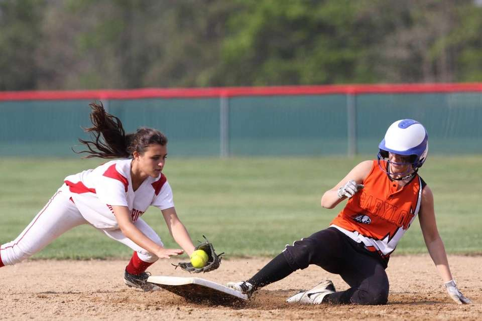 Babylon's Bridgette Rohl, right, slides safely into second
