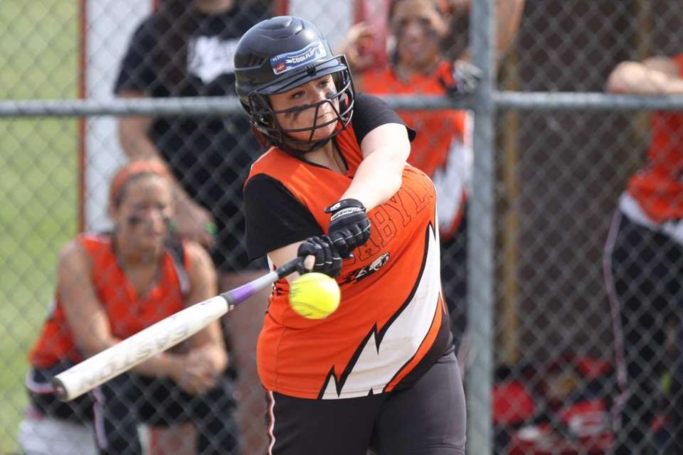 Babylon's Madison Mugno connects for a hit against