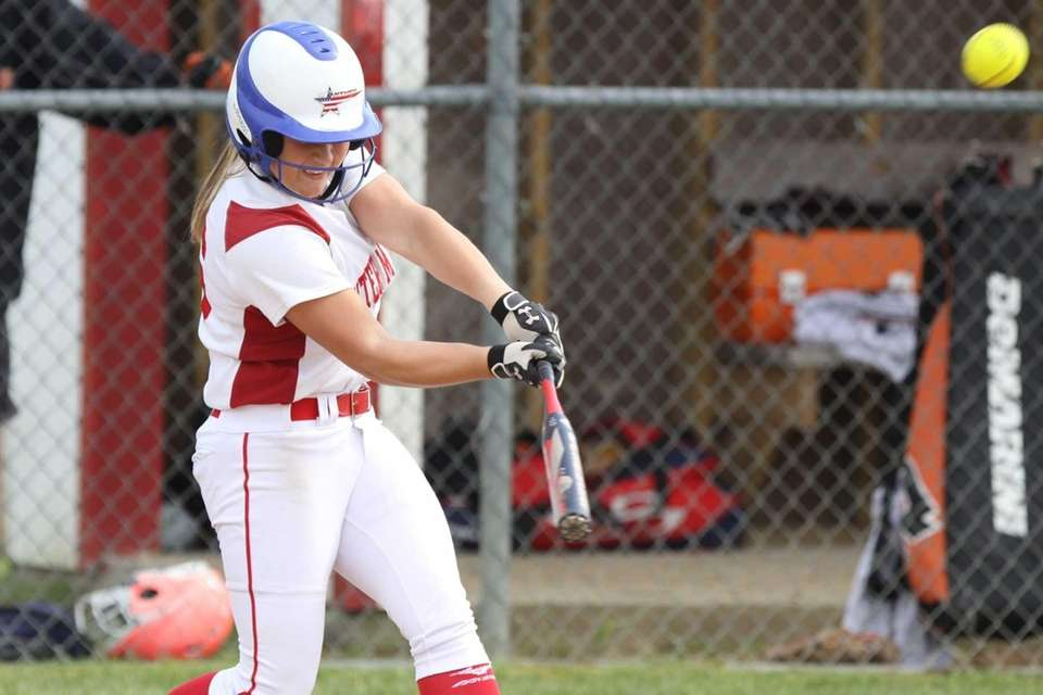 Center Moriches' Tori Fahie connects for a three-run