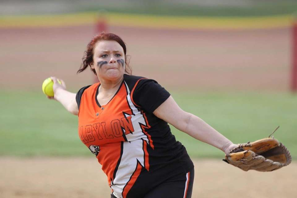 Babylon's Madison Mugno pitches against Center Moriches during