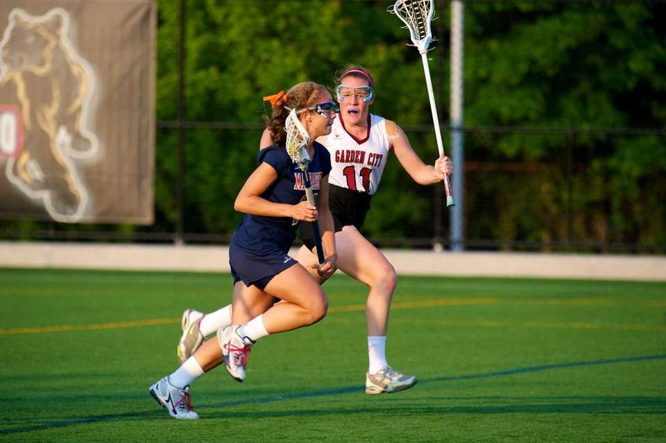 Garden City midfielder Kayla Murphy closely guards Manhasset