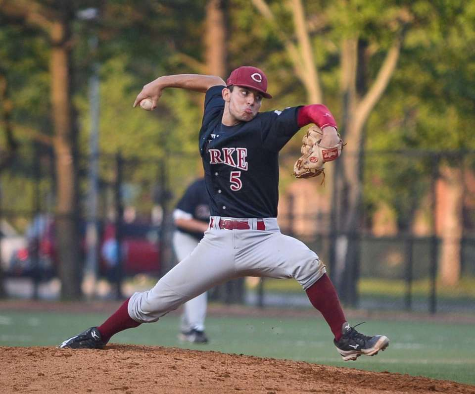 Clarke senior Joe Fusco delivers a pitch during