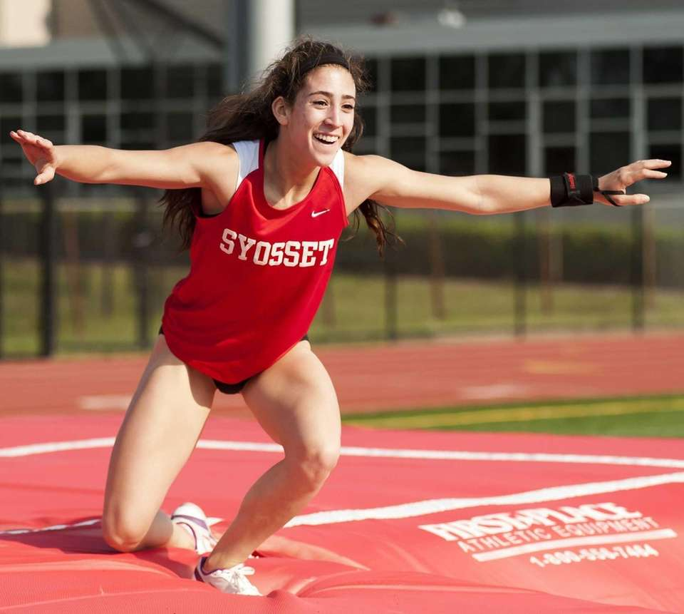 Syosset's Jade Knaster celebrates after a jump in