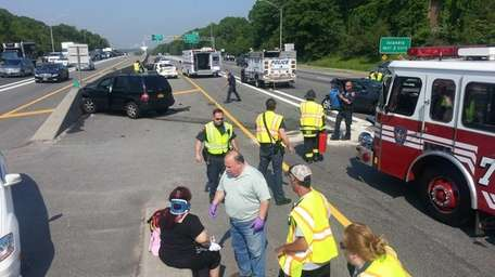 A five-vehicle crash on the westbound Long Island