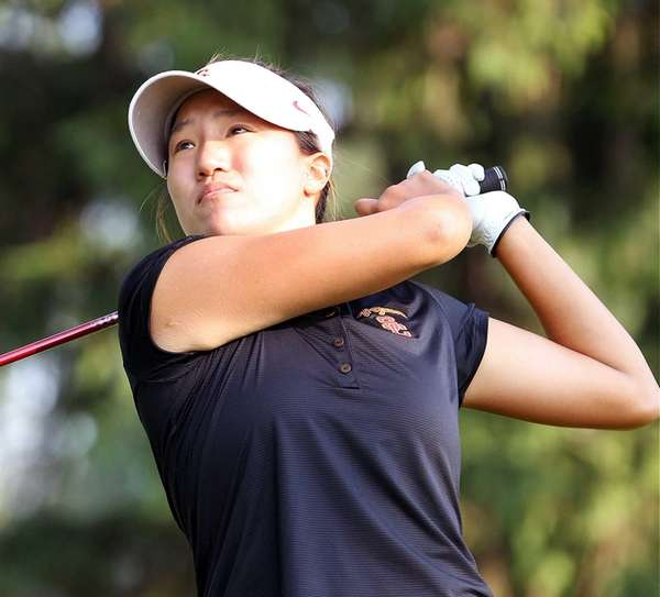Annie Park tees off during U.S. Women's Open