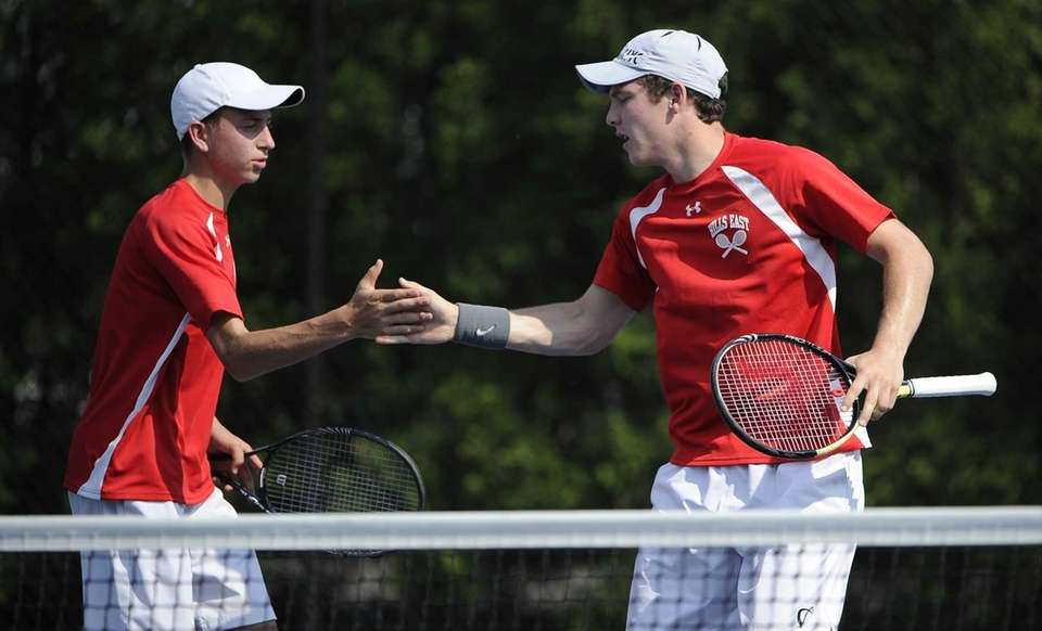 Half Hollow Hills East's Kyle Alper, left, and