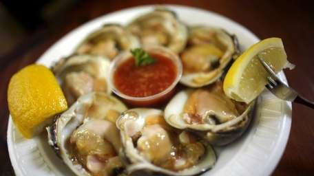 Clams on the half shell are served at