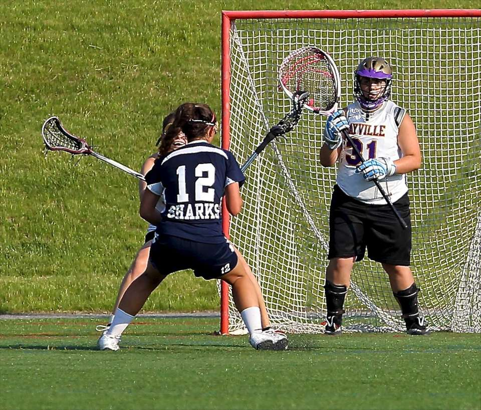 Sayville goalie Gianna Minogue readies herself for the