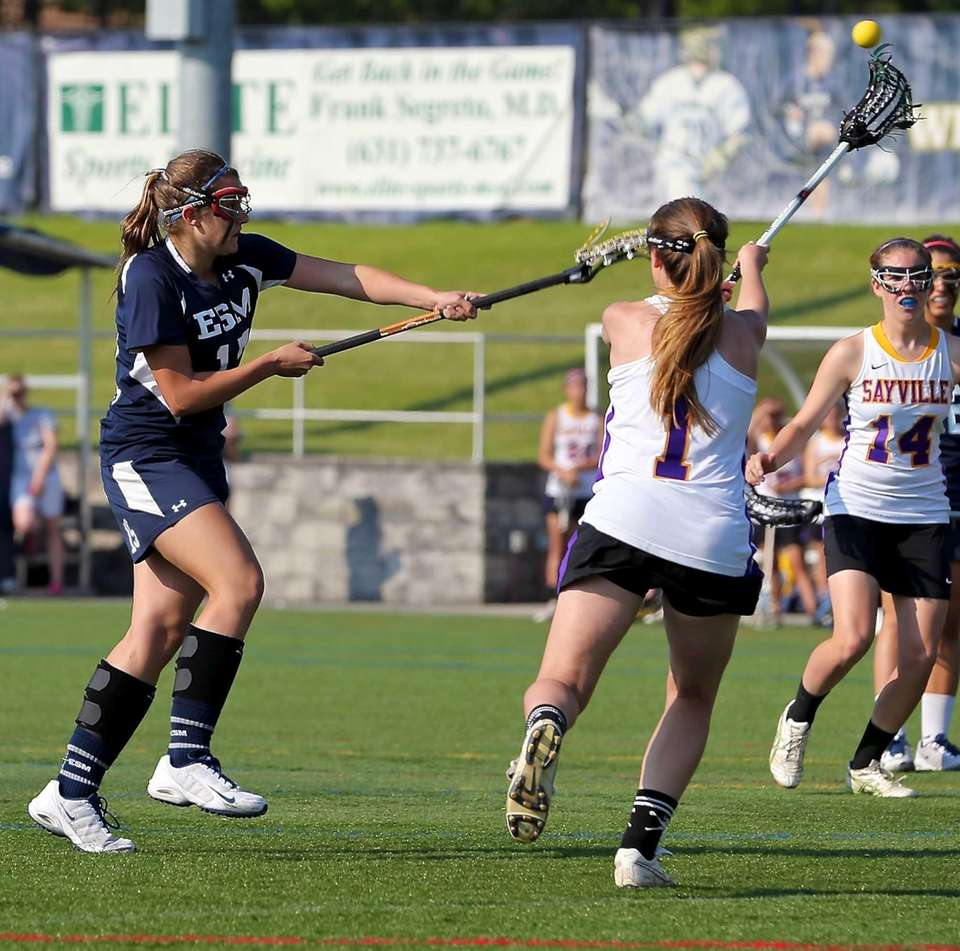 Eastport's Jaqueline Wasilko shoots and scores against Sayville