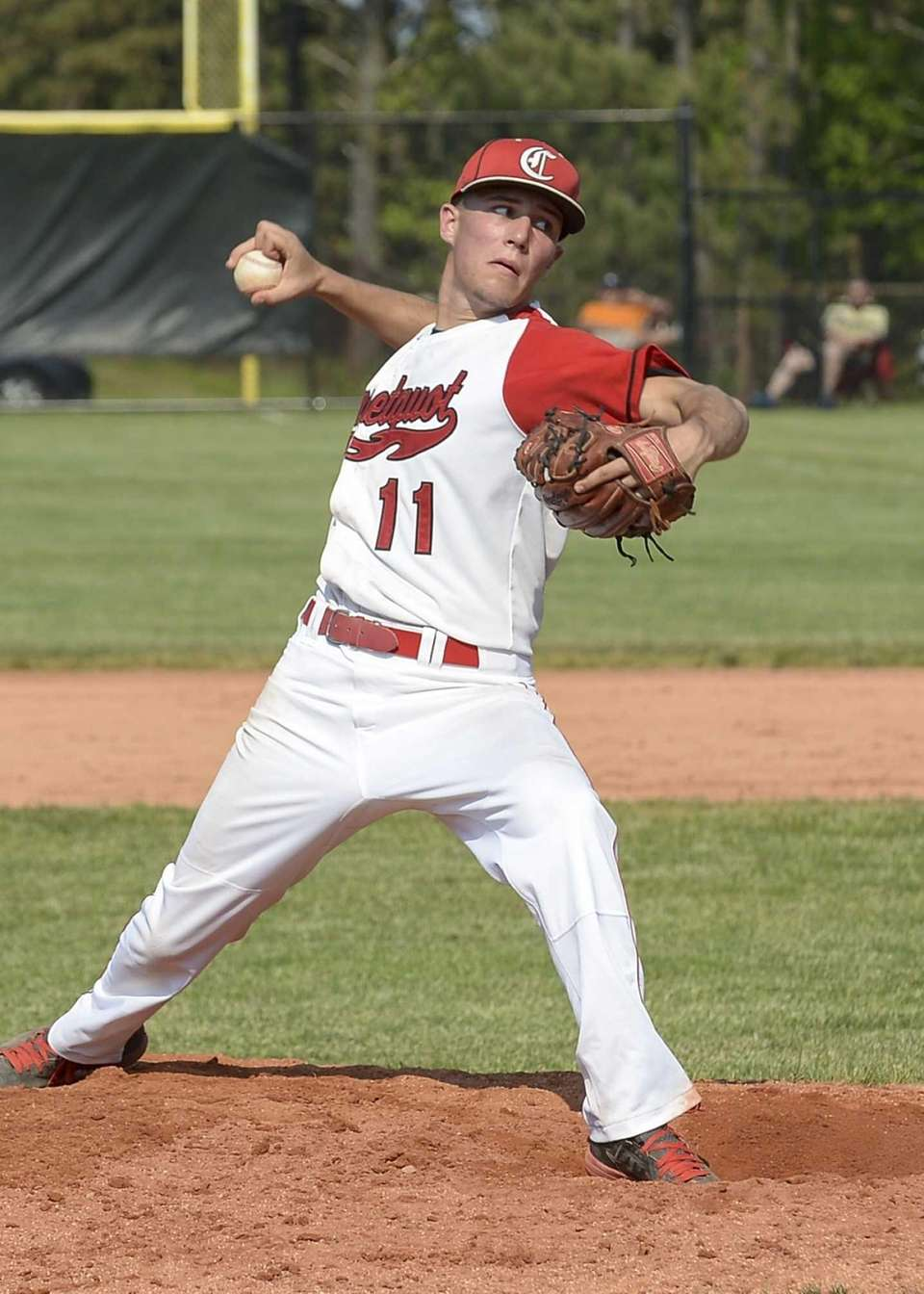 Connetquot's Brian McKean delivers a fastball during the