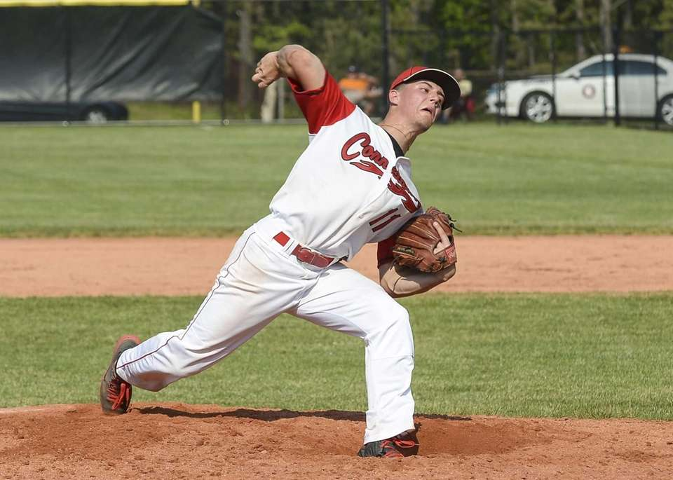 Connetquot's Brian McKean delivers a strike during the