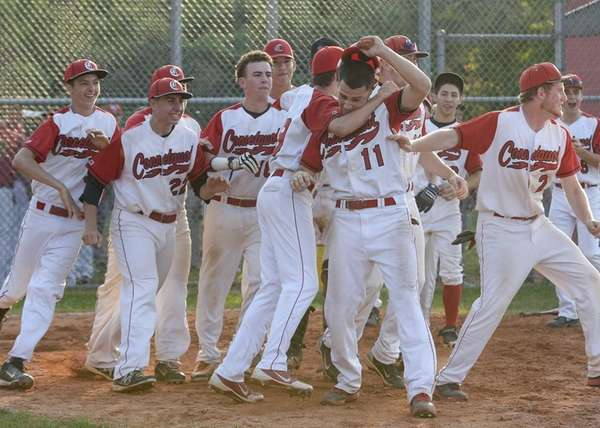 Connetquot celebrates their win over Hills West during