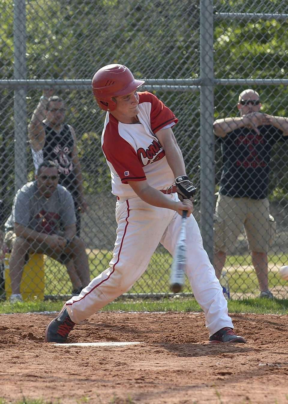 Connetquot's Tyler Torborg connects for a double during