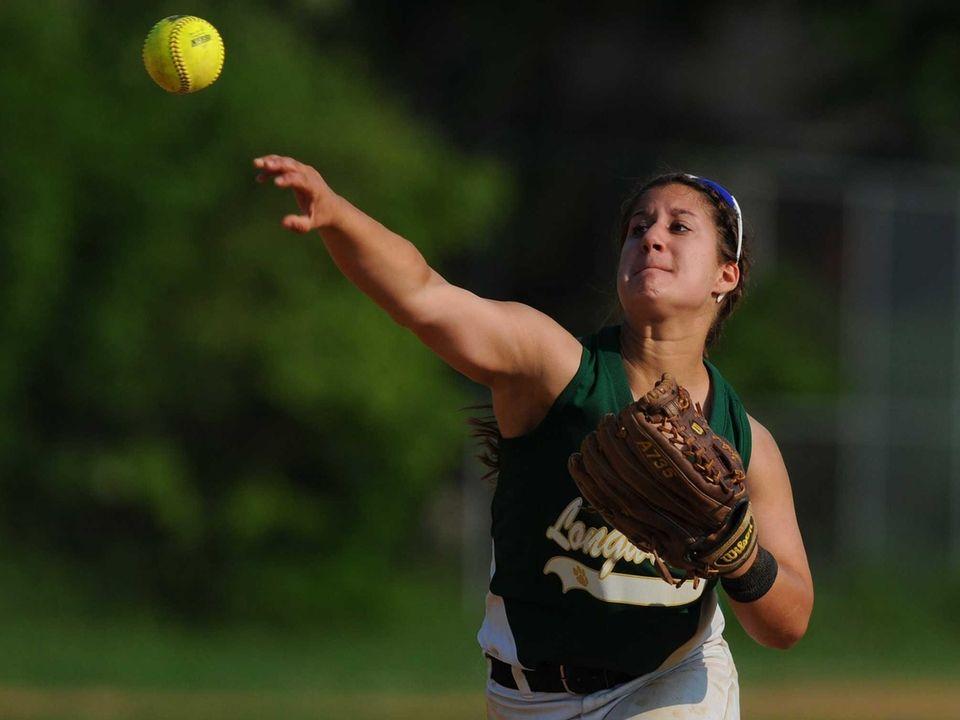 Longwood second baseman Leah Mele tosses to keep