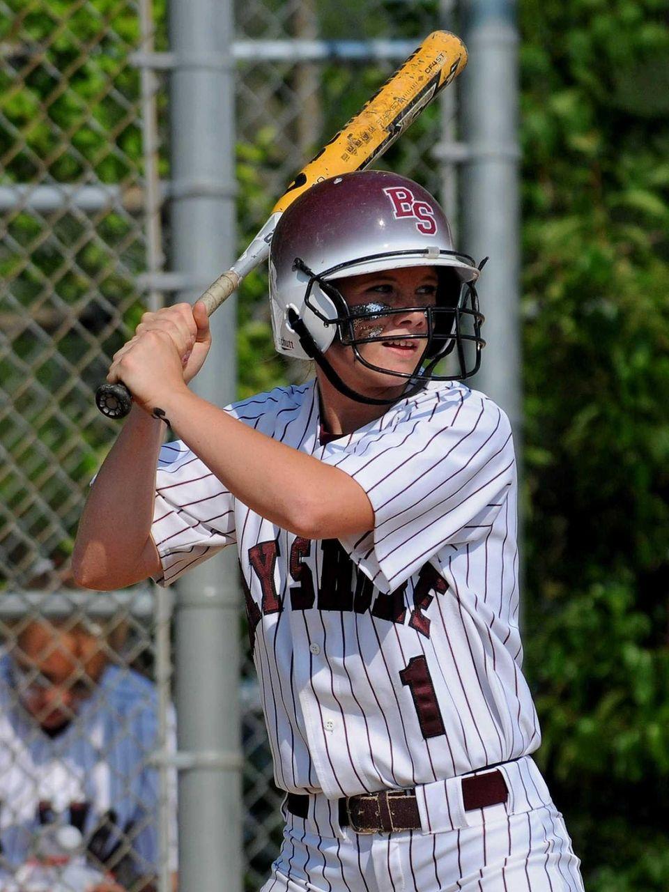 Bay Shore catcher Courtney Syrett steps into the