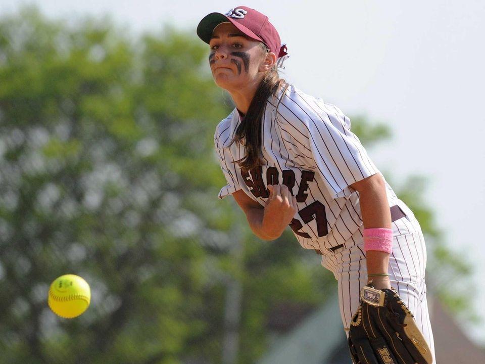 Bay Shore pitcher Michelle DeVito delivers to the