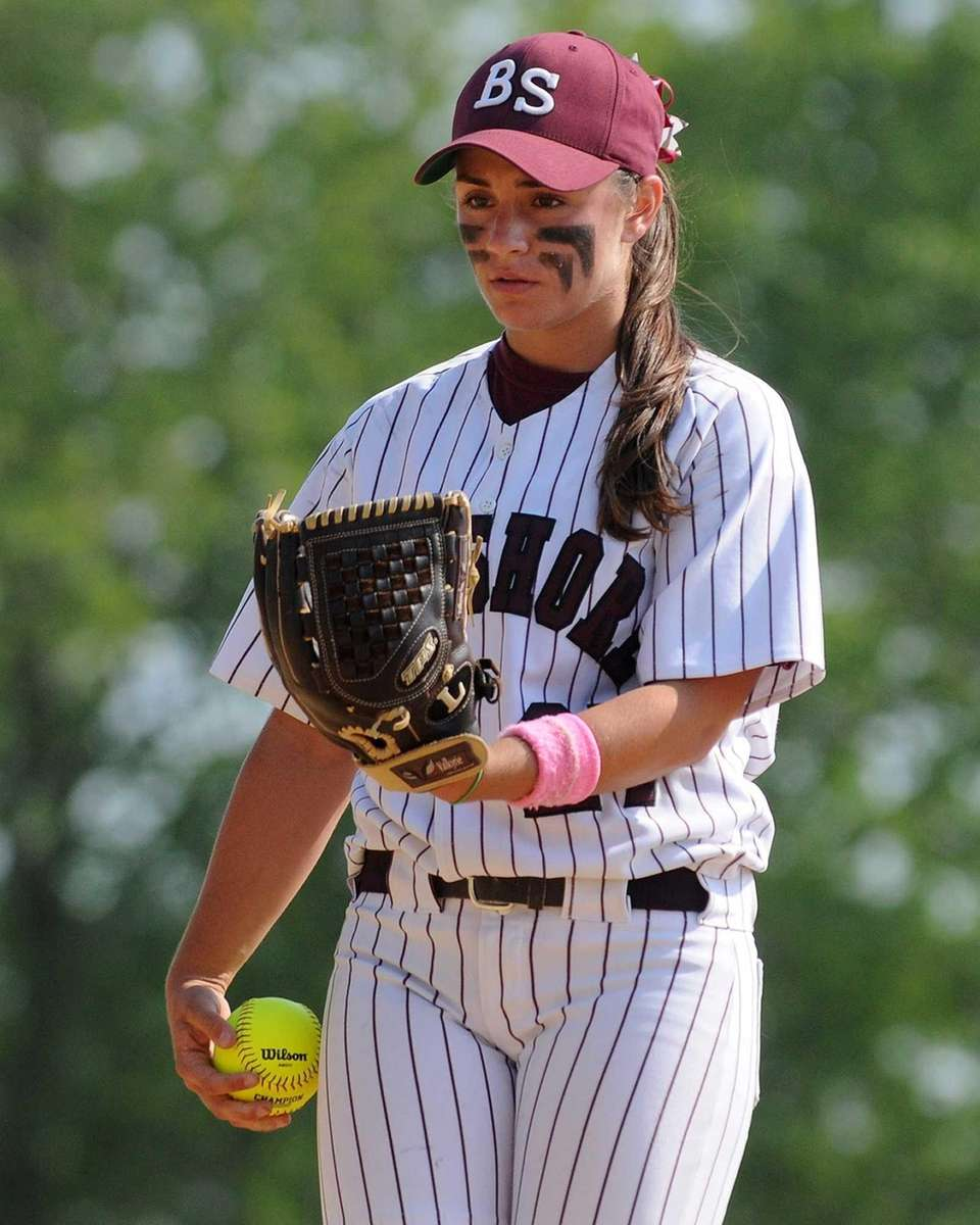 Bay Shore pitcher Michelle DeVito looks to her