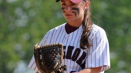 Bay Shore pitcher Michelle DeVito looks to her