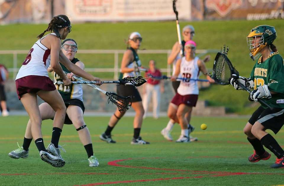 Bay Shore's Cynthia DelCore shoots and scores against
