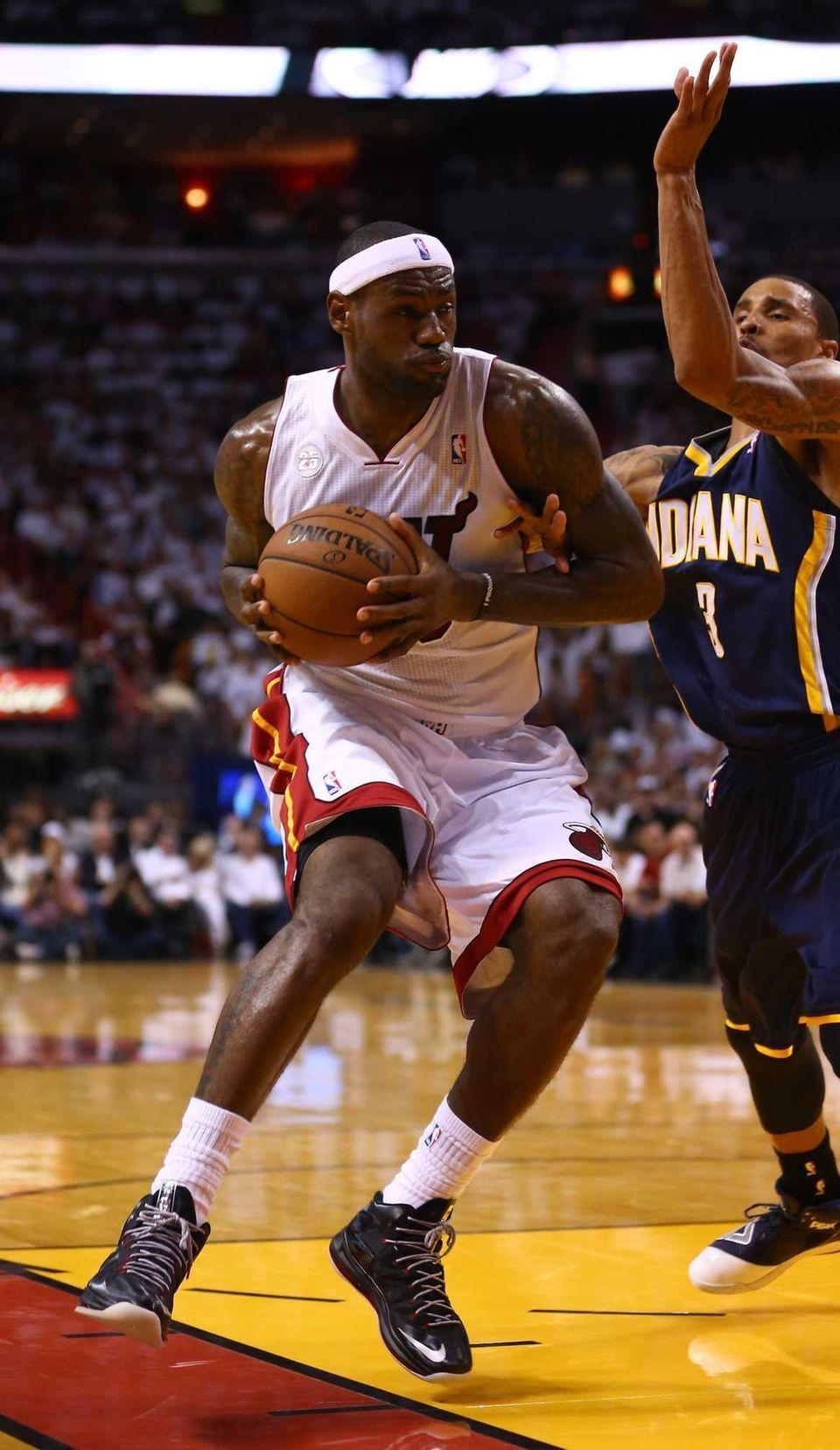 LeBron James of the Miami Heat handles the