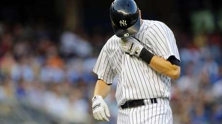 Reid Brignac of the Yankees reacts after a