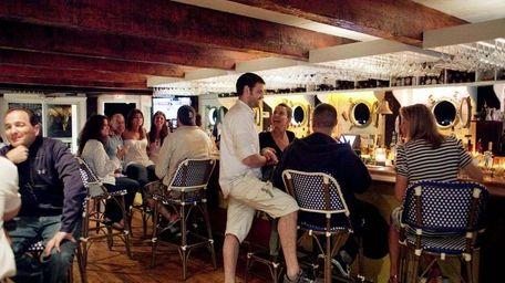 The bar scene at Navy Beach in Montauk.