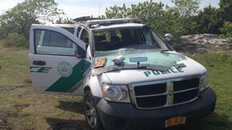 A state parks police officer was hurt after