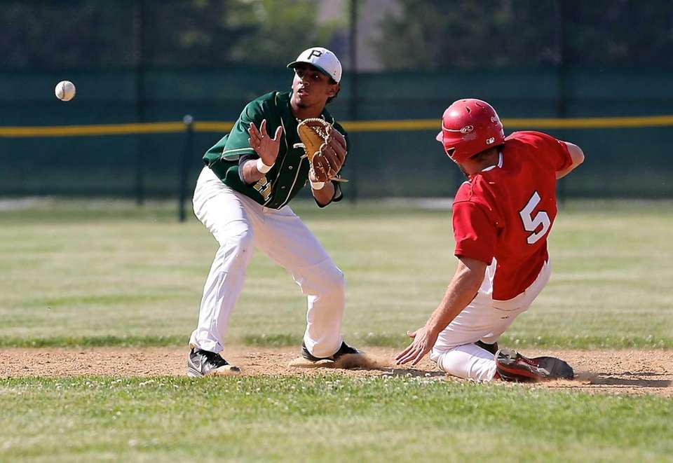 Connetquot's Steven Schmitt is safe at second as