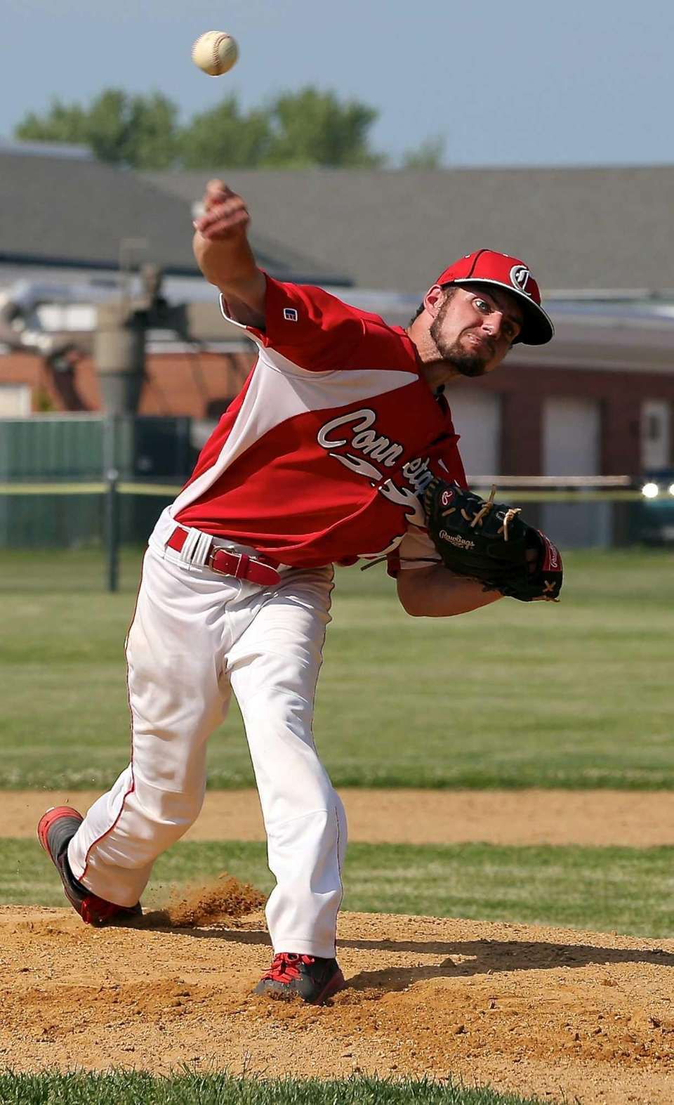 Connetquot starting pitcher Justin Scala delivers in the