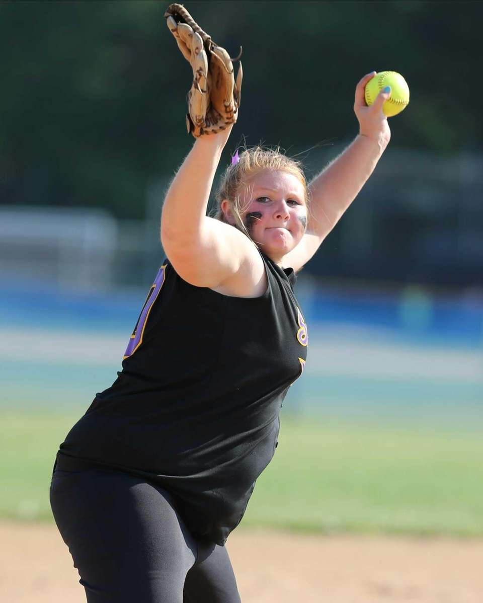 Sayville pitcher Julia Simpson throws a strike in