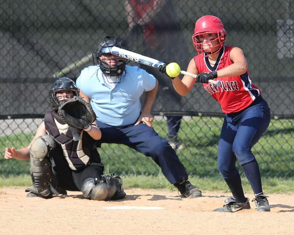 Miller Place's Paige Matuk lays down a bunt