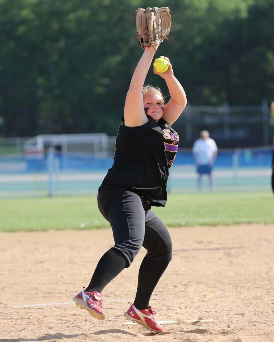 Sayville pitcher Julia Simpson pitches in Game 1