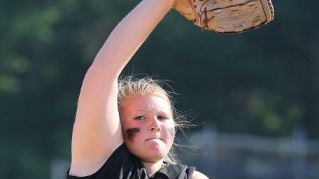 Sayville pitcher Julia Simpson throws a strike in