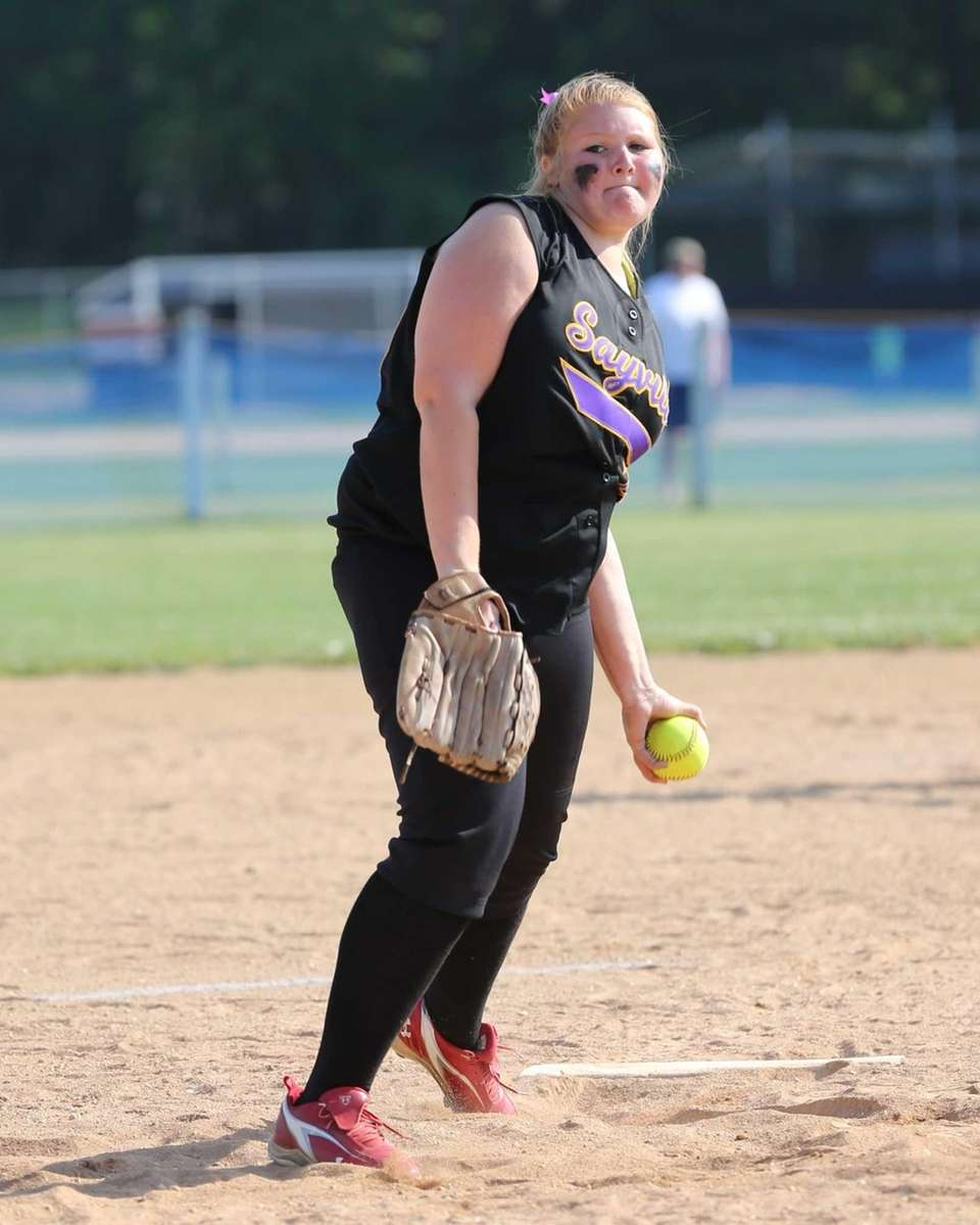 Sayville pitcher Julia Simpson throws in Game 1