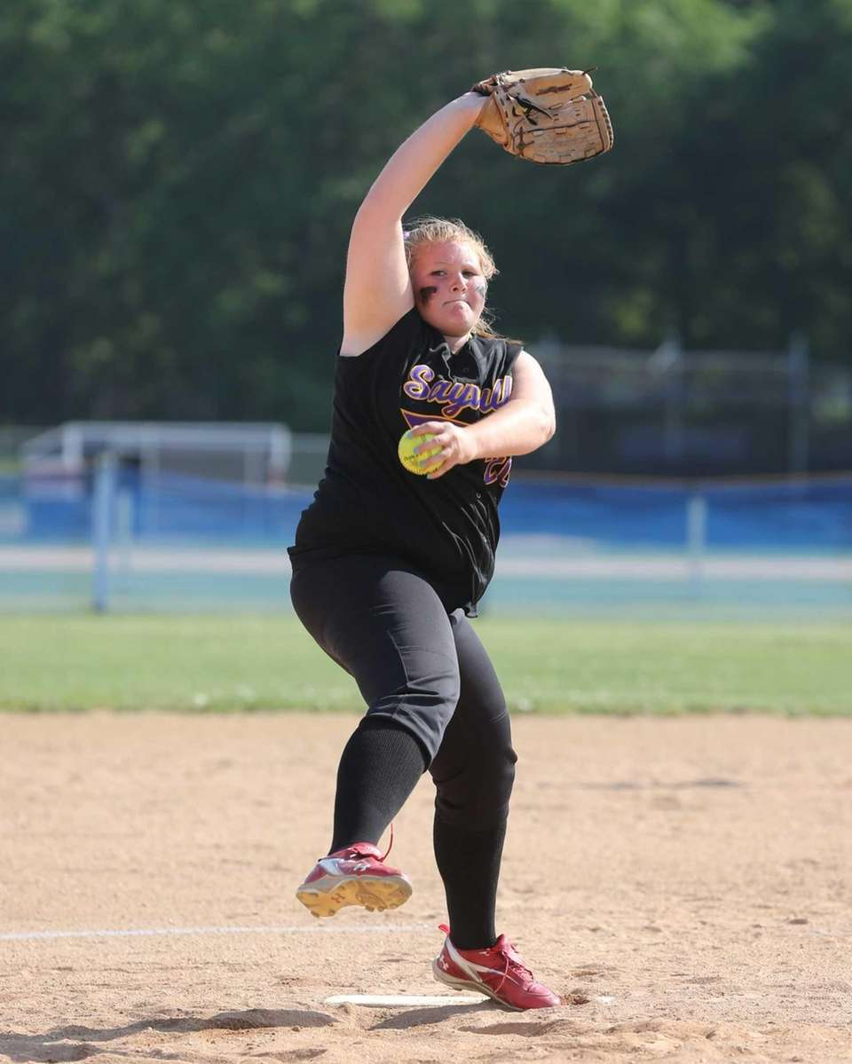 Sayville pitcher Julia Simpson delivers the ball in