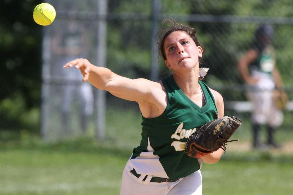 Longwood's Noel Lent throws to first for an