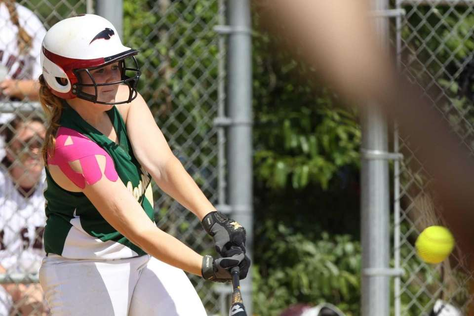 Longwood's Madison Rappold connects for an RBI single