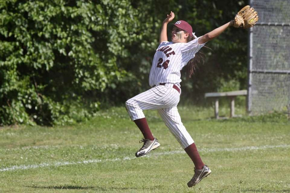 Bay Shore's Kim Goldsmith makes a leaping catch