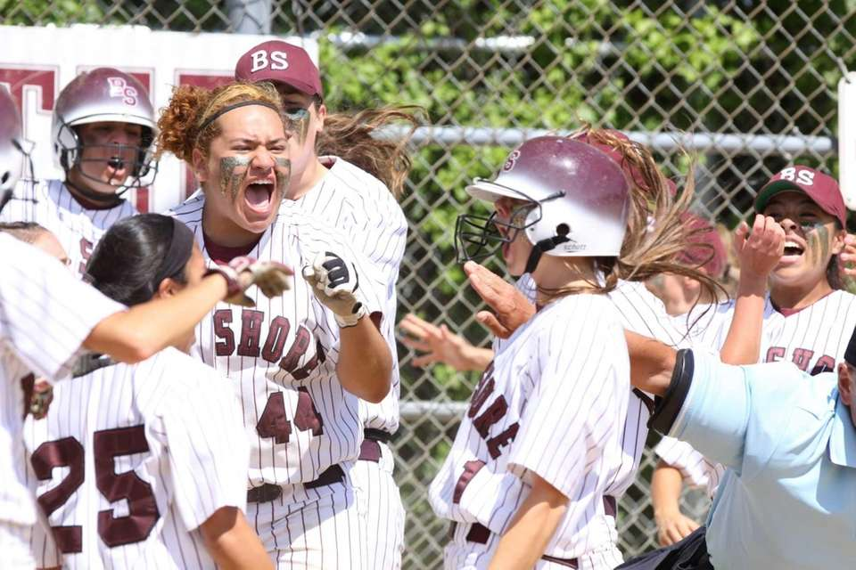 Bay Shore celebrates after Courtney Syrett connected for